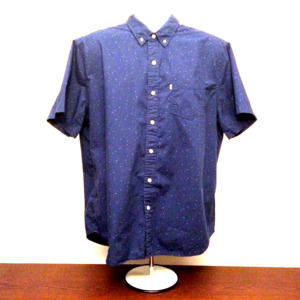 Levi's blue short sleeve white tab button down